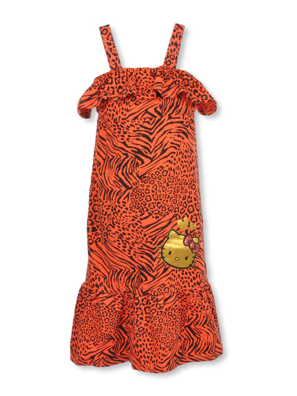 "d1ebbb44275 Hello Kitty Little Girls' ""Wild Animals"" Maxi Dress (Sizes 4 – 6X)"