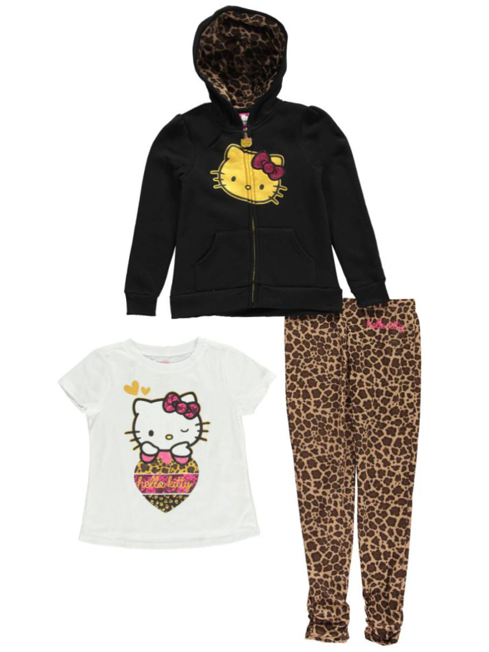 Image of Hello Kitty Little Girls Toddler Kitty Wink 3Piece Outfit Sizes 2T  4T  black 2t