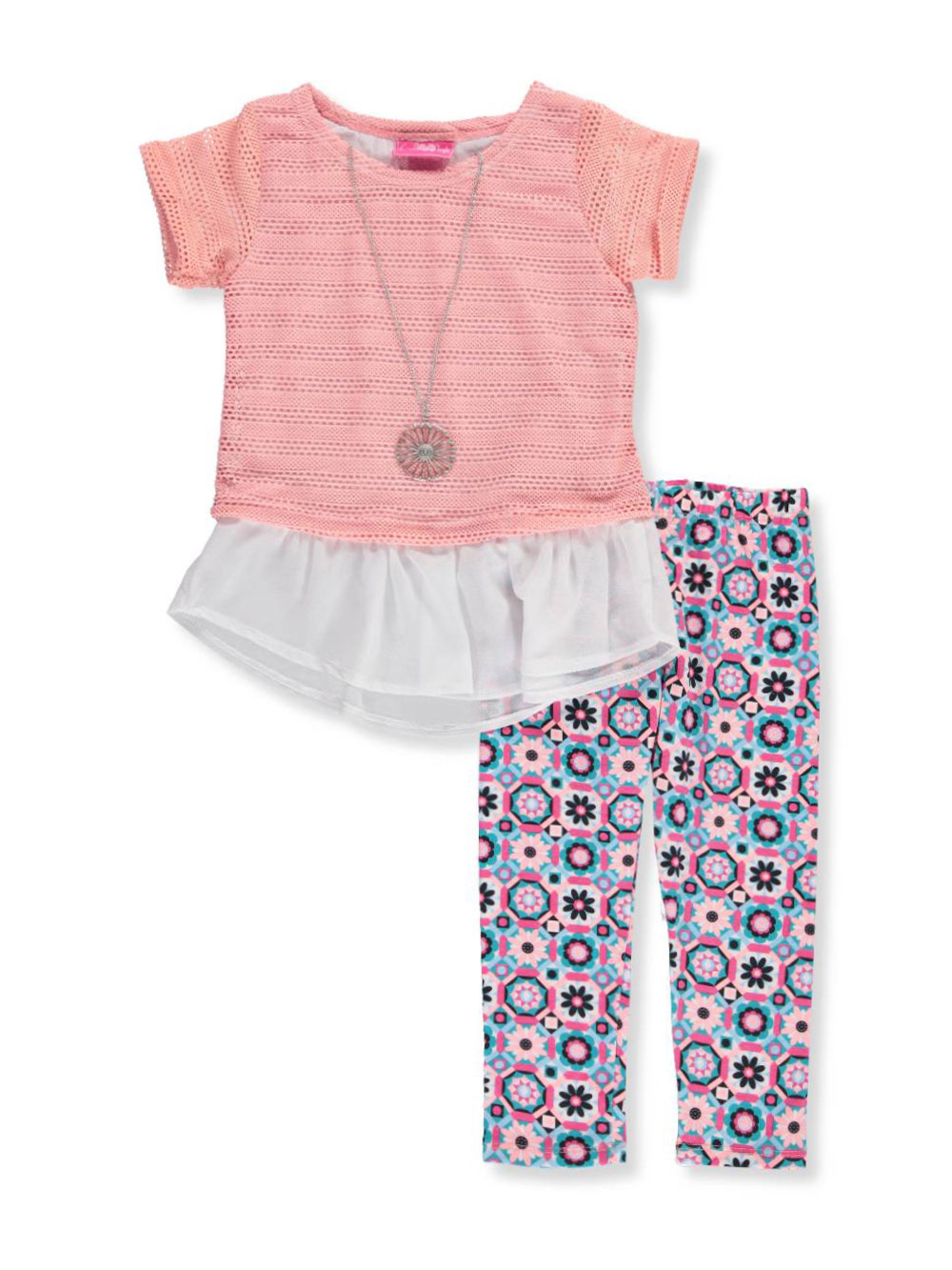 Girls Luv Pink Little Girls' 2-Piece Outfit with Necklace (Sizes 4 – 6X) - CookiesKids.com