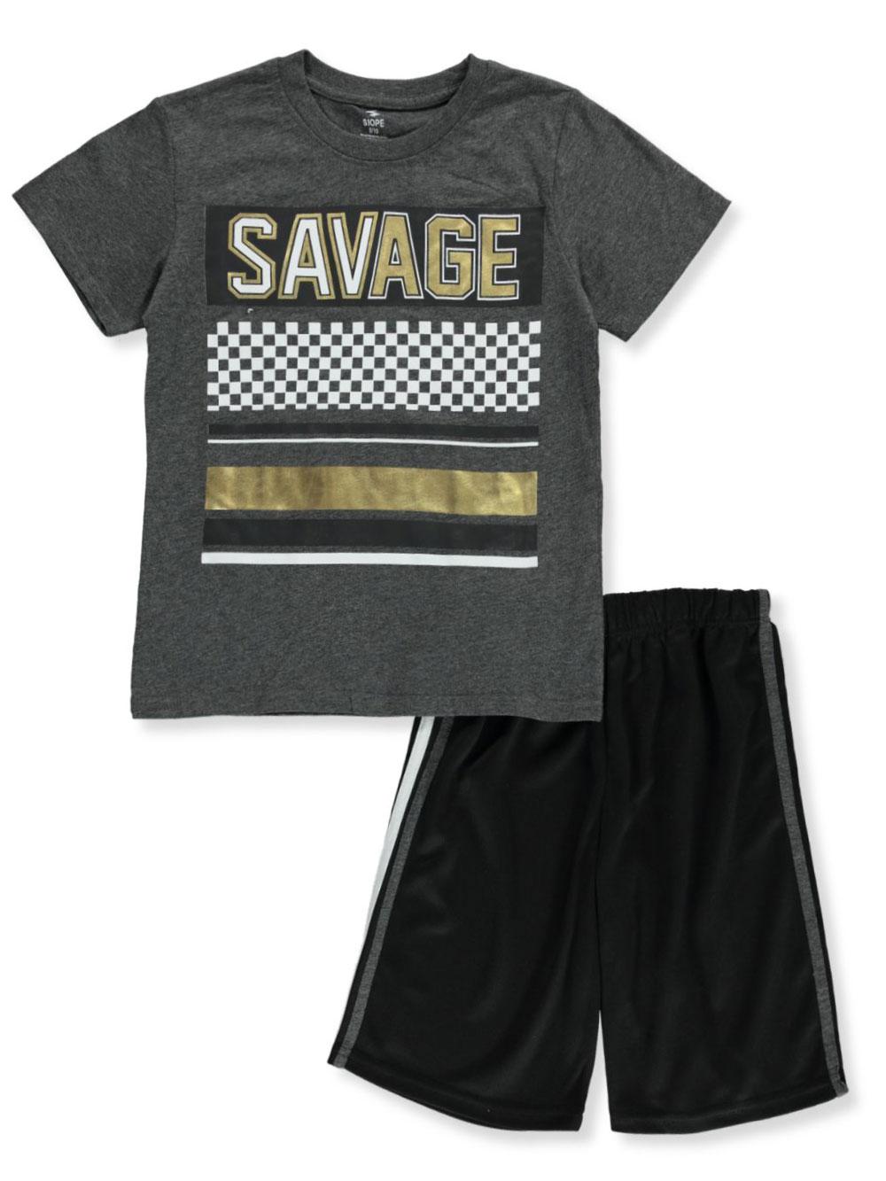 Little Boy/'s Short Set 2-Piece ECKO Tee Shirt T-Shirt and Plaid Shorts NEW