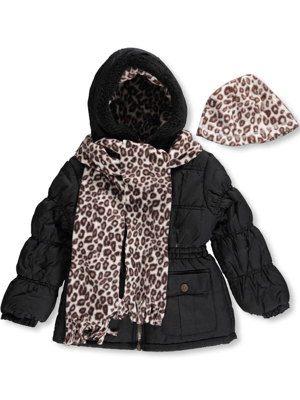 Image of Pink Platinum Little Girls Leopard Equip Insulated Parka with Accessories Sizes 4  6X