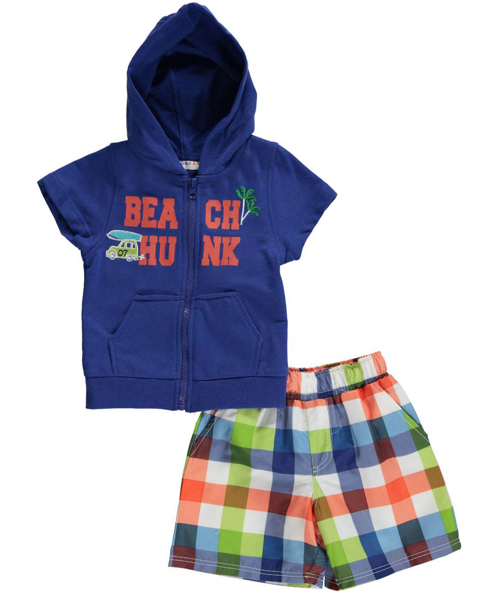Image of Wippette Baby Boys Beach Hunk SS Hoodie  Swim Trunks  blue 18 months