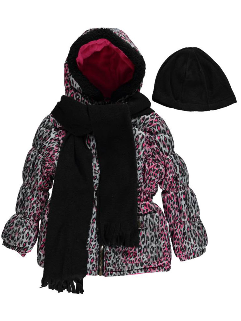 Image of Pink Platinum Little Girls Toddler Leopard Splash Insulated Parka with Accessories Sizes 2T  4T
