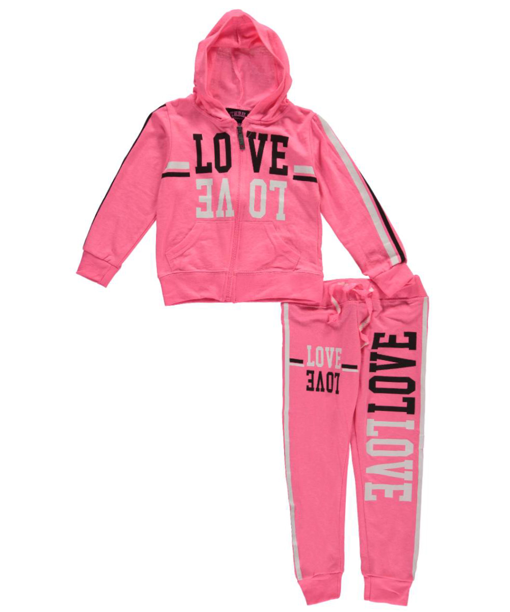 Image of Thrill Little Girls Striped Love 2Piece French Terry Sweatsuit Sizes 4  6X  neon pink 6x