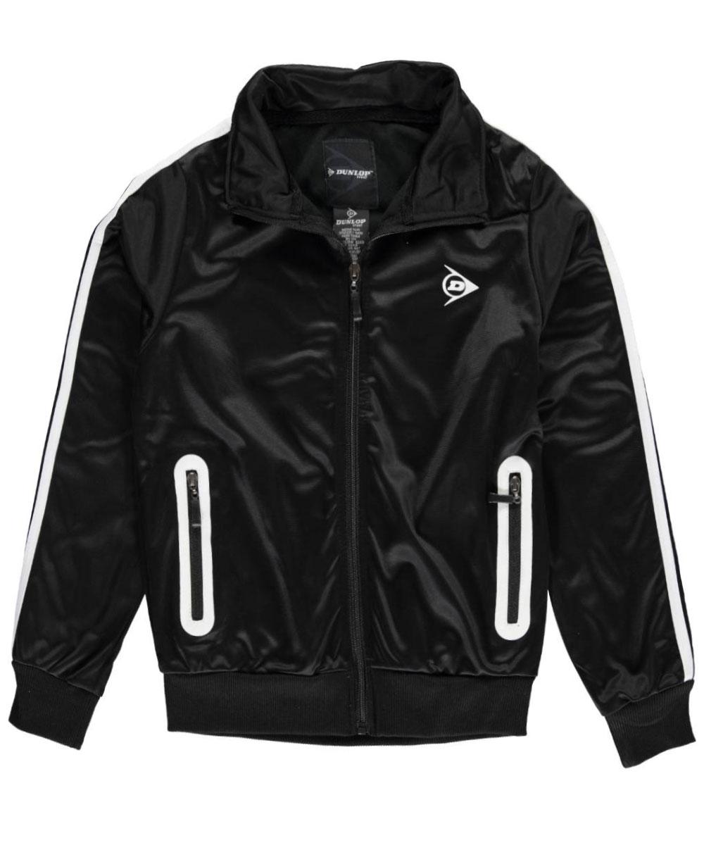 Image of Dunlop Big Boys Daily Run Track Jacket Sizes 8  20  blackwhite 1416