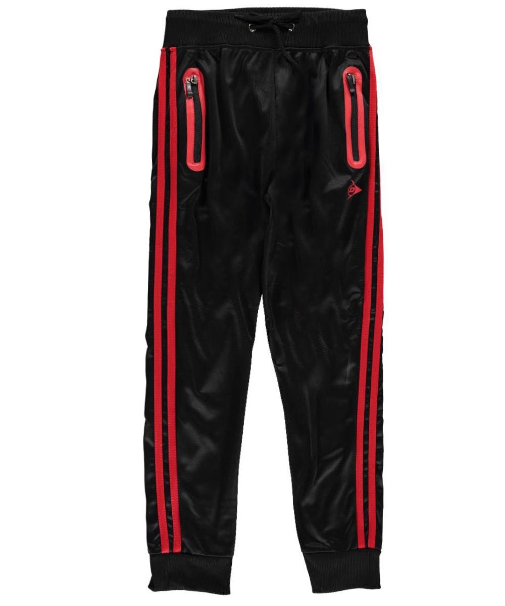 Image of Dunlop Big Boys Double Stripe Joggers Sizes 8  20  blackred 1012