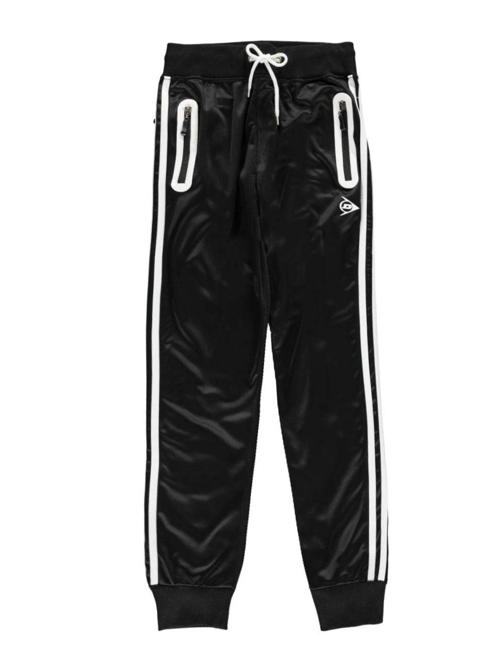 Image of Dunlop Big Boys Double Stripe Joggers Sizes 8  20  blackwhite 8