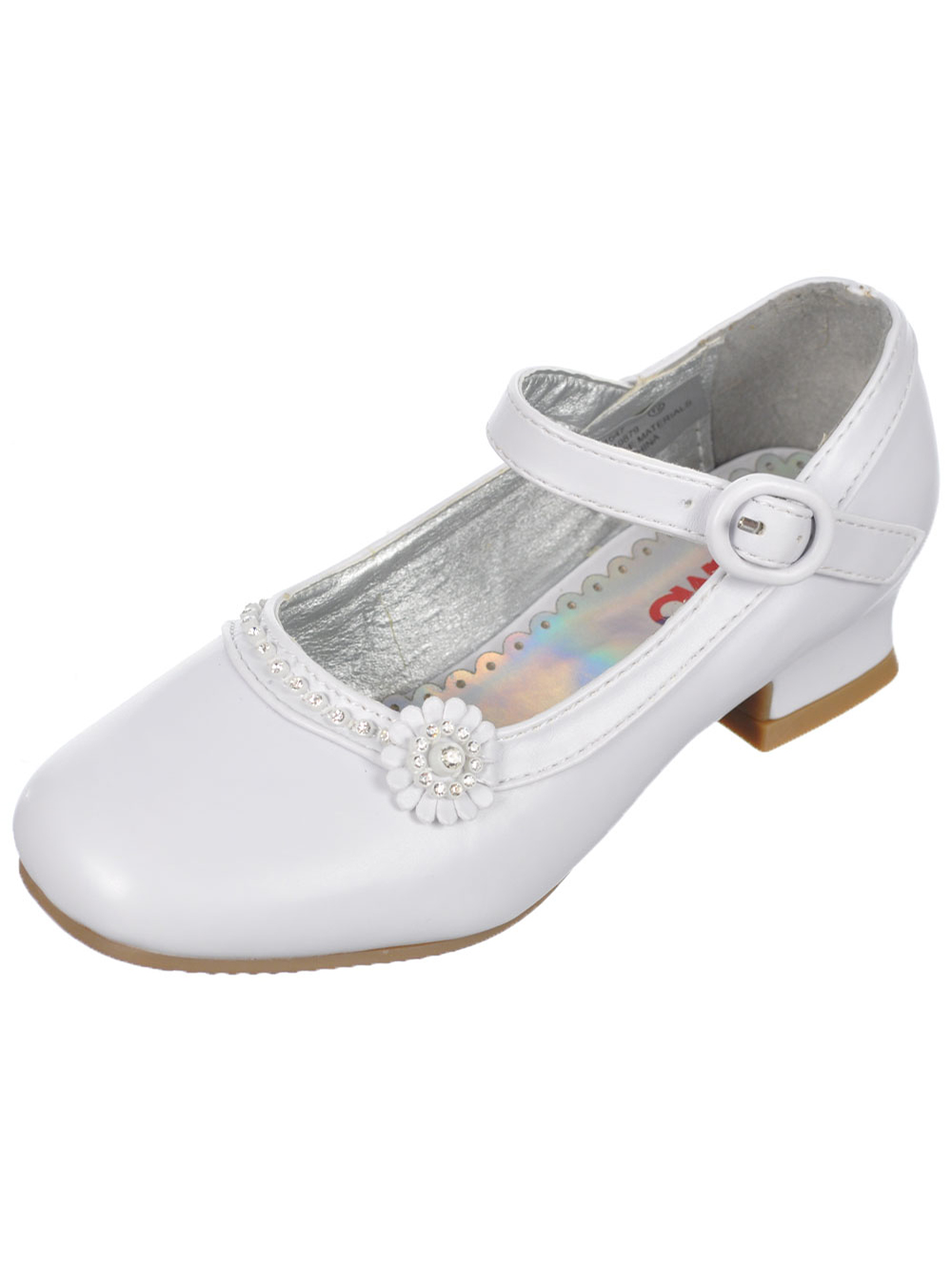 Image of Josmo Girls Toe Pave Flower Mini Pumps Toddler Sizes 11  12  white 11 toddler