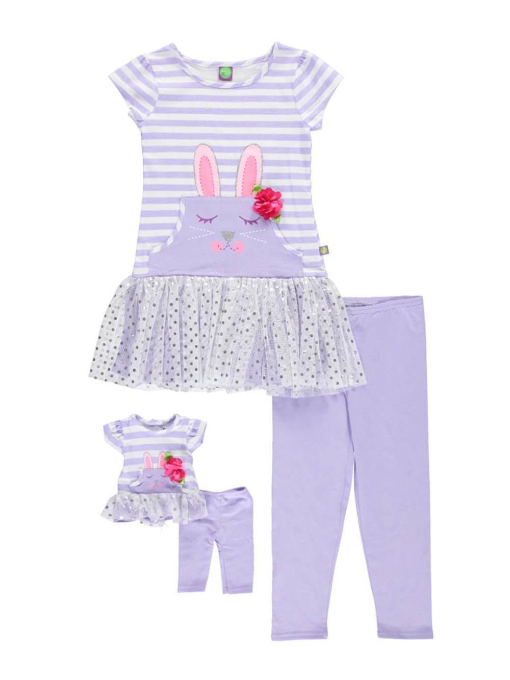 Image of Dollie  Me Little Girls Sweet Bunny 2Piece Outfit with Doll Outfit Sizes 4  6X