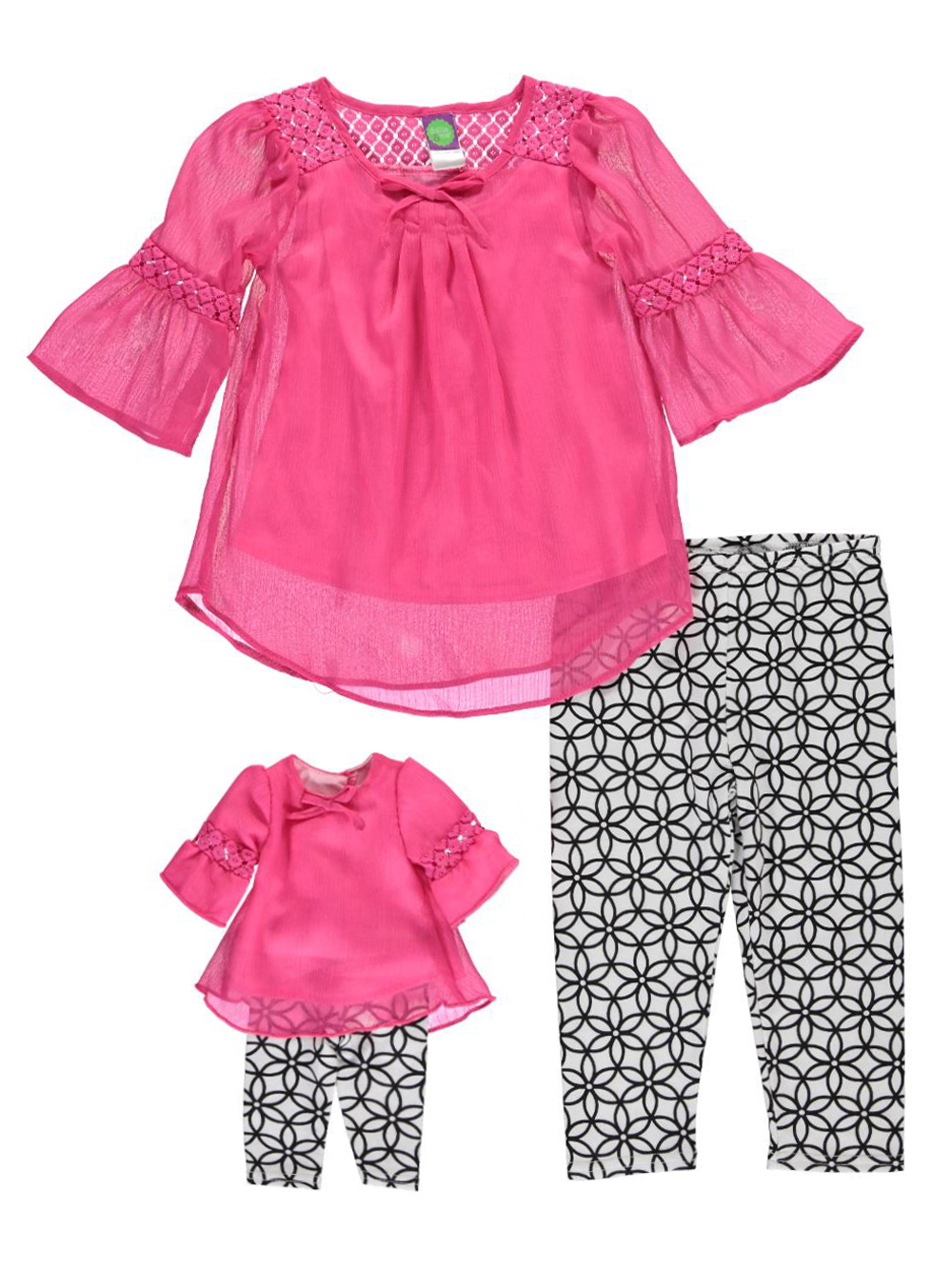 Image of Dollie  Me Big Girls Mad for Mod 2Piece Outfit with Doll Outfit Sizes 7  16  whitefuchsia 7