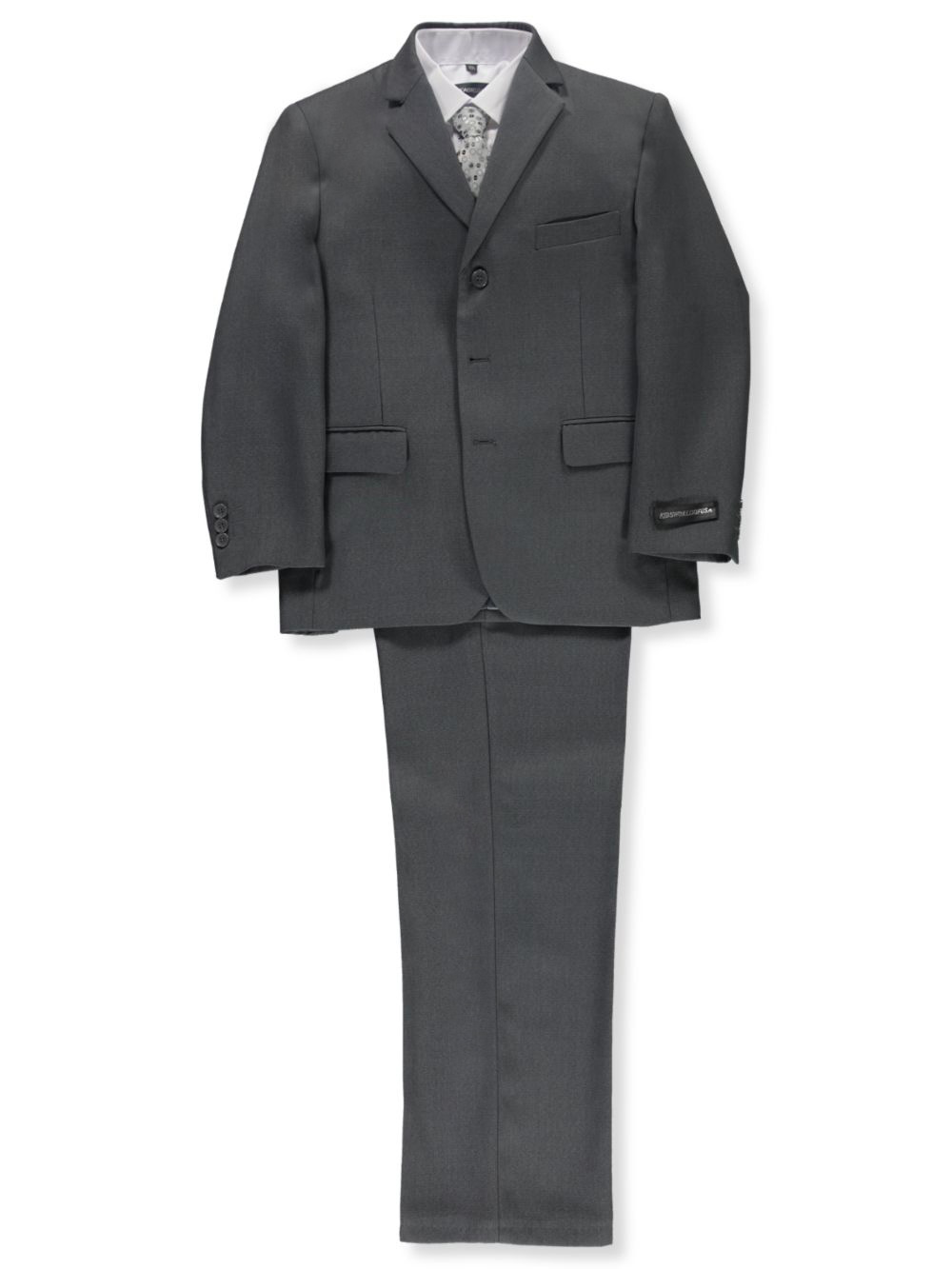 Image of Kids World Big Boys Husky In Charge 5Piece Suit Sizes 10H  20H  gray 14 husky