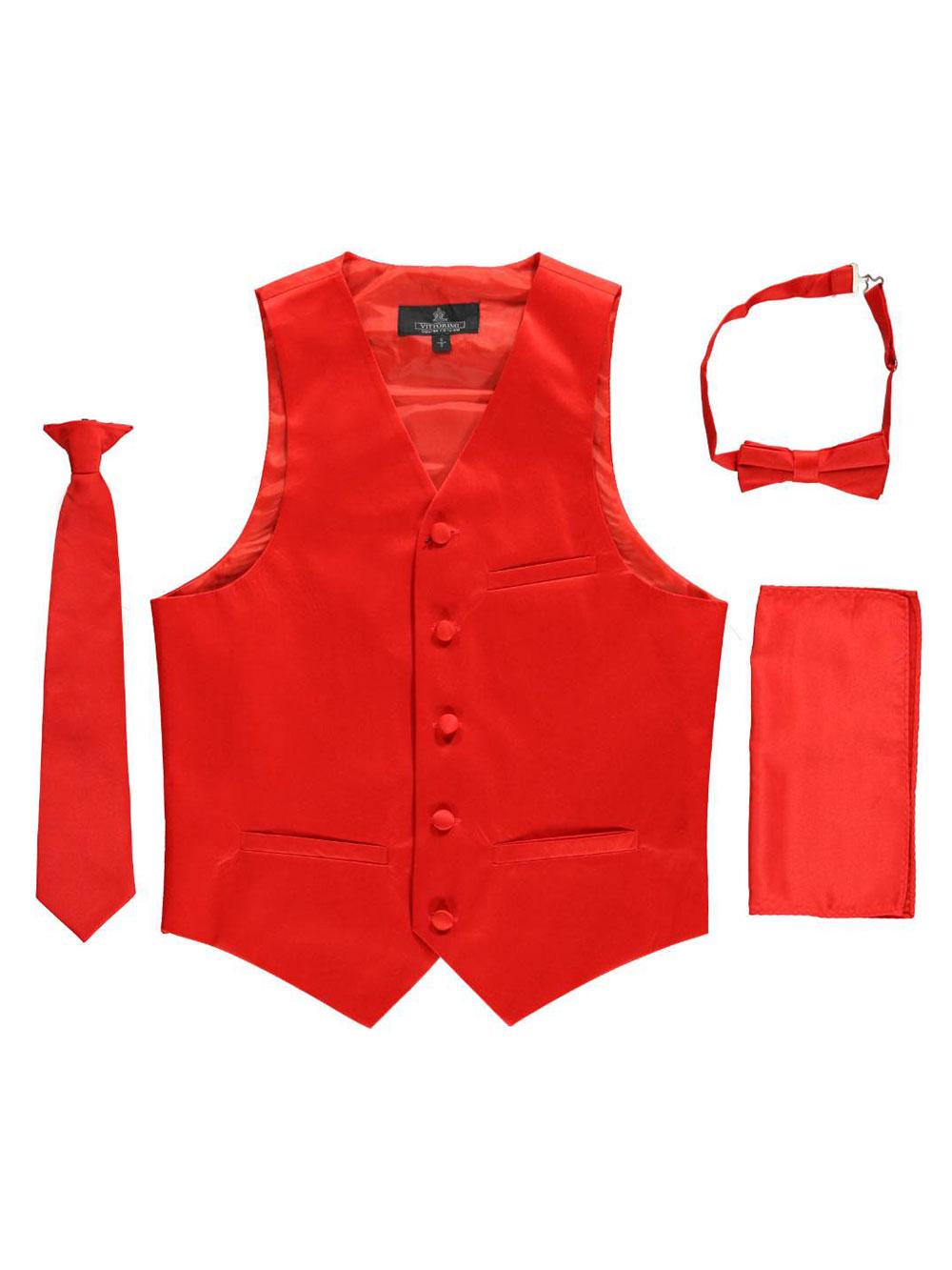 Vittorino Big Boys' 4-Piece Vest & Accessories Set (Sizes 8 - 20) - red, 18 - 20