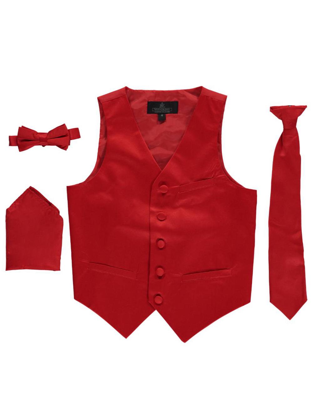 Vittorino Little Boys' 4-Piece Vest & Accessories Set (Sizes 4 - 7) - red, 4
