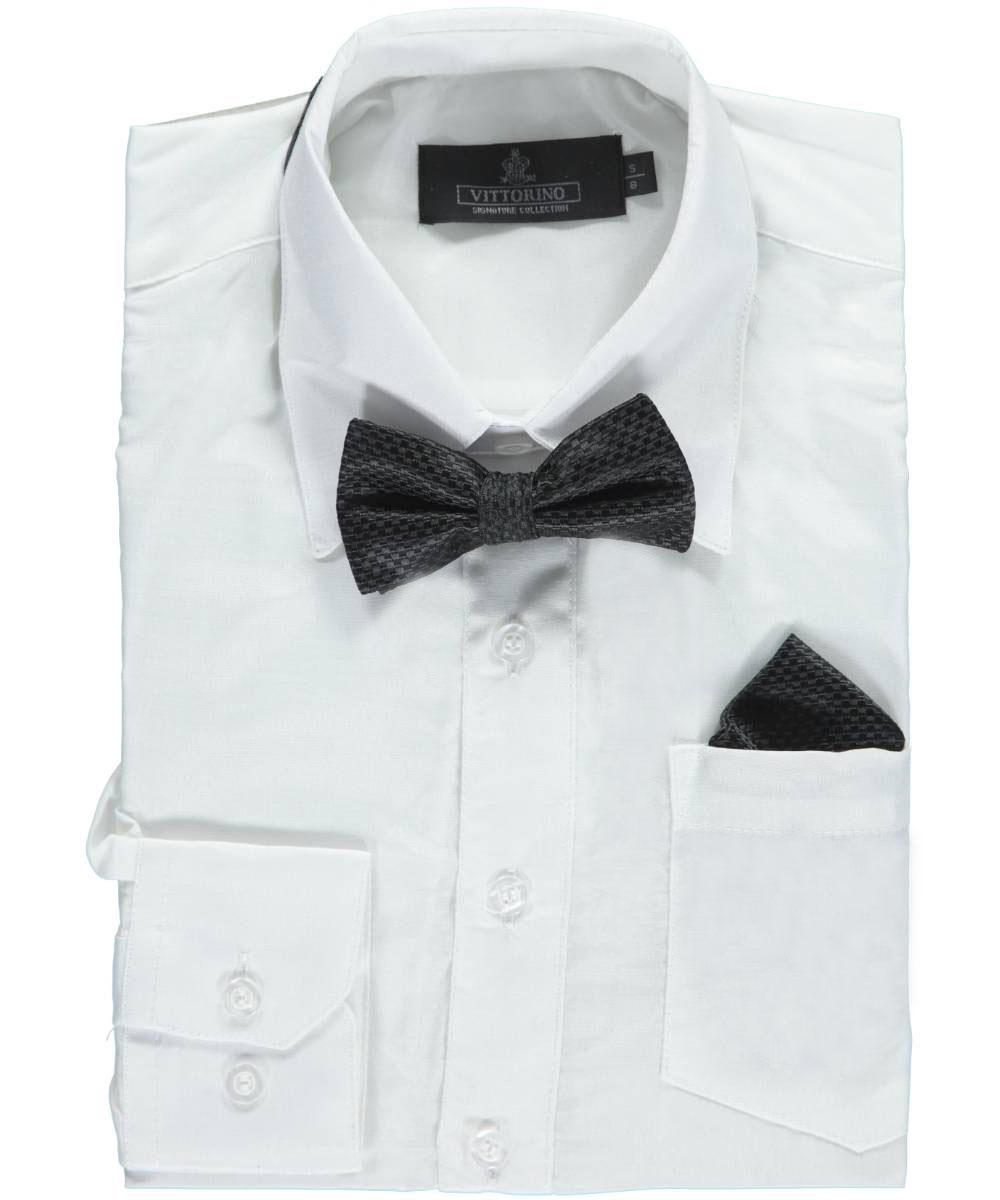 Vittorino Big Boys' Dress Shirt with Accessories (Sizes 8 - 20) - white, 14 - 16