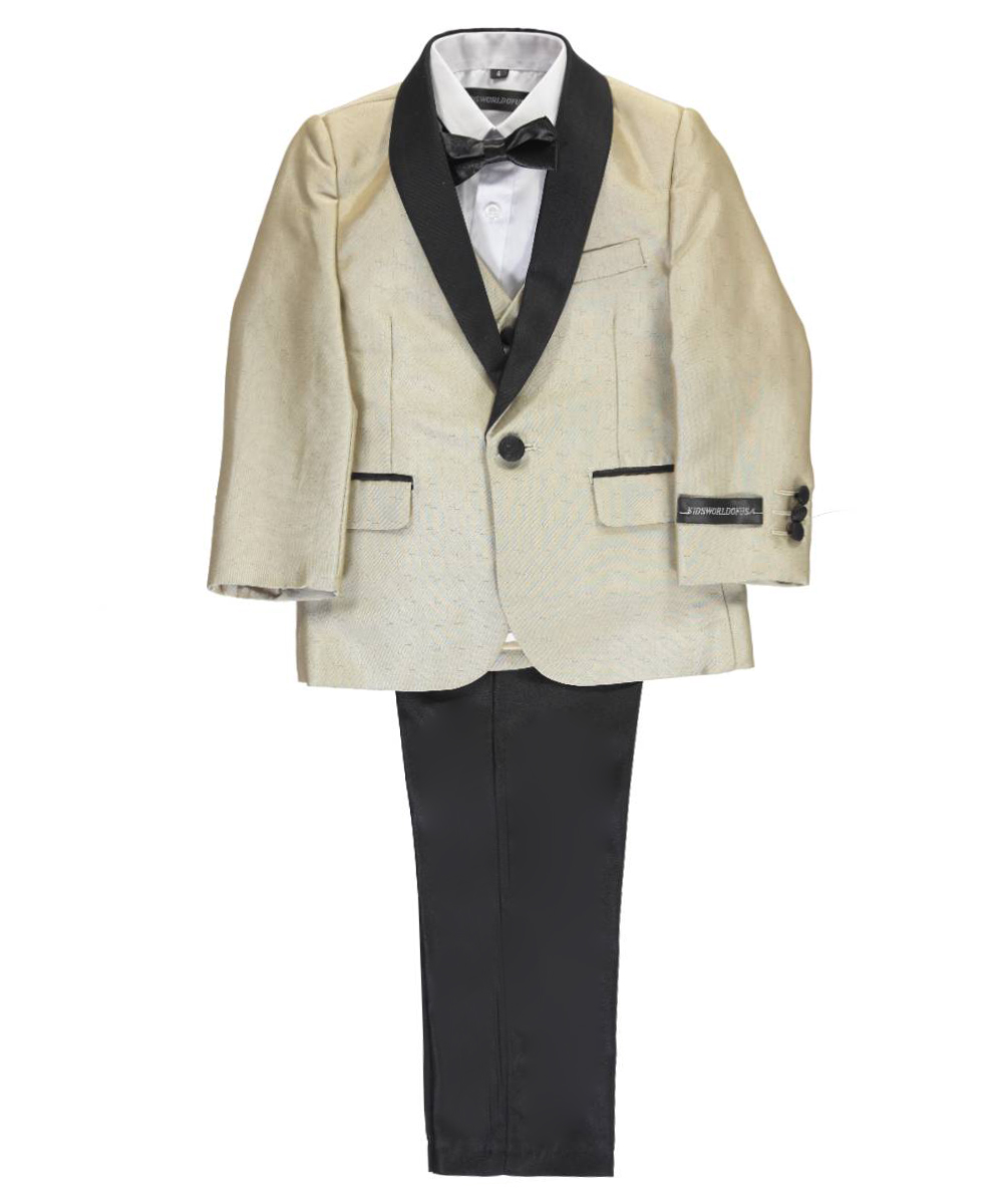 Image of Kids World Little Boys Headliner 5Piece Suit Sizes 4  7  taupe 6