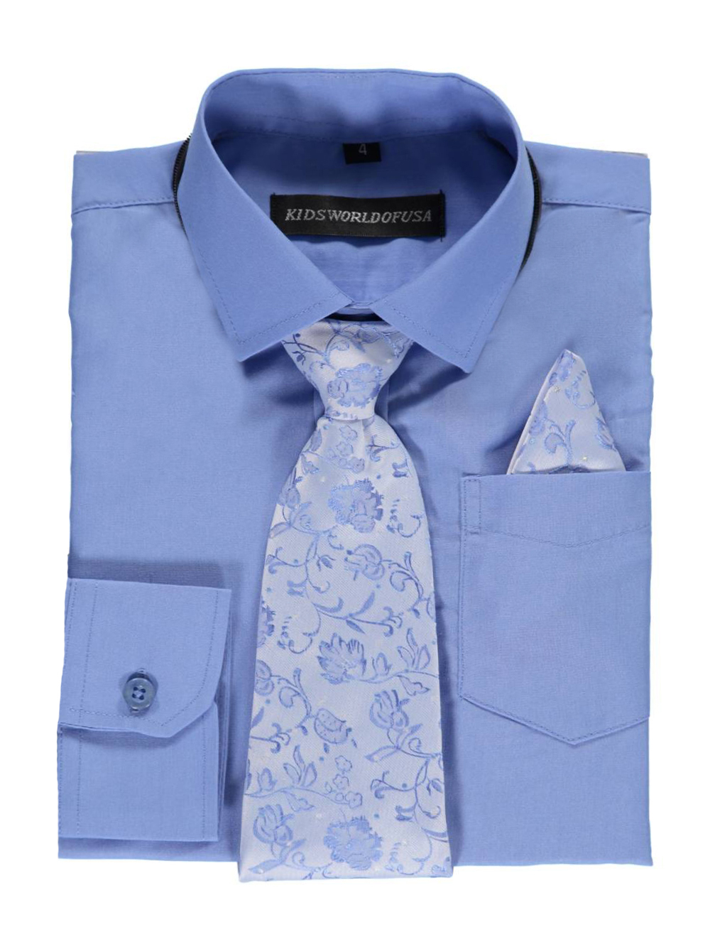 Kids World Little Boys' Dress Shirt with Accessories (Sizes 4 - 7) - blue, 6