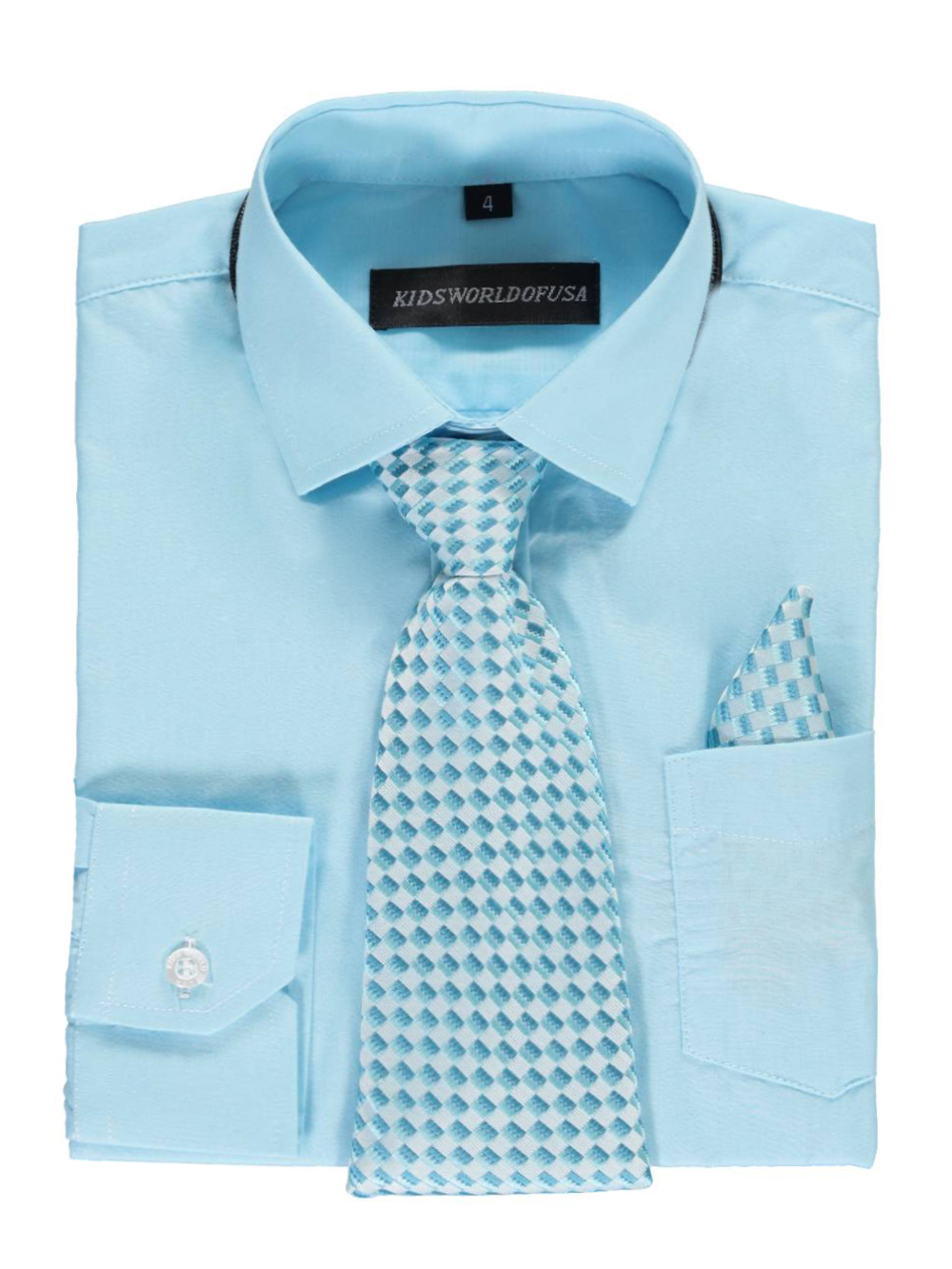 Kids World Little Boys' Dress Shirt with Accessories (Sizes 4 - 7) - turquoise, 6