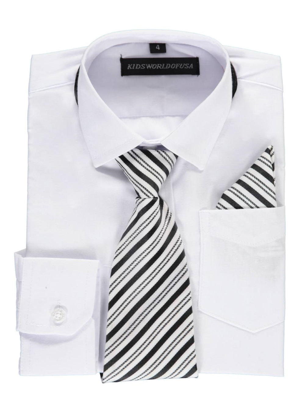 Kids World Little Boys' Dress Shirt with Accessories (Sizes 4 - 7) - white, 6