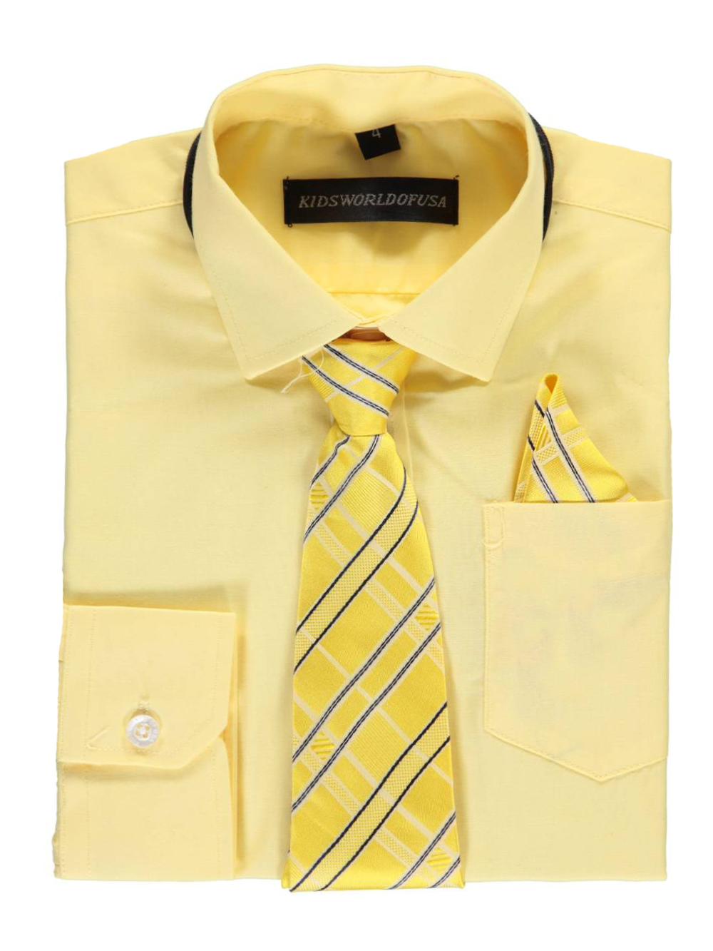 Kids World Little Boys' Dress Shirt with Accessories (Sizes 4 - 7) - yellow, 5