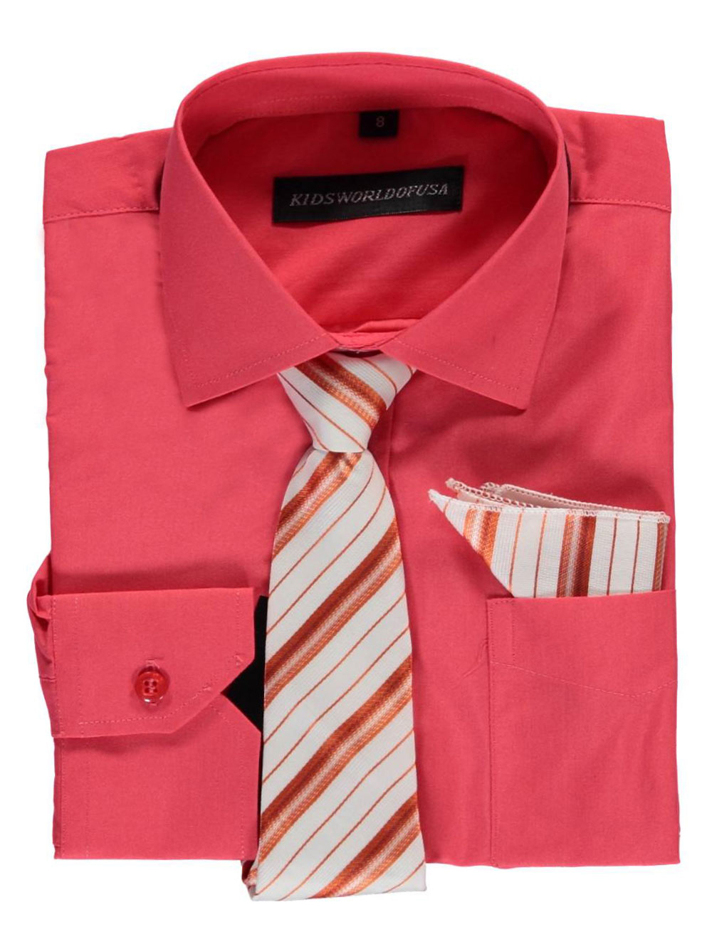 Kids World Big Boys' Dress Shirt with Accessories (Sizes 8 - 20) - coral, 14