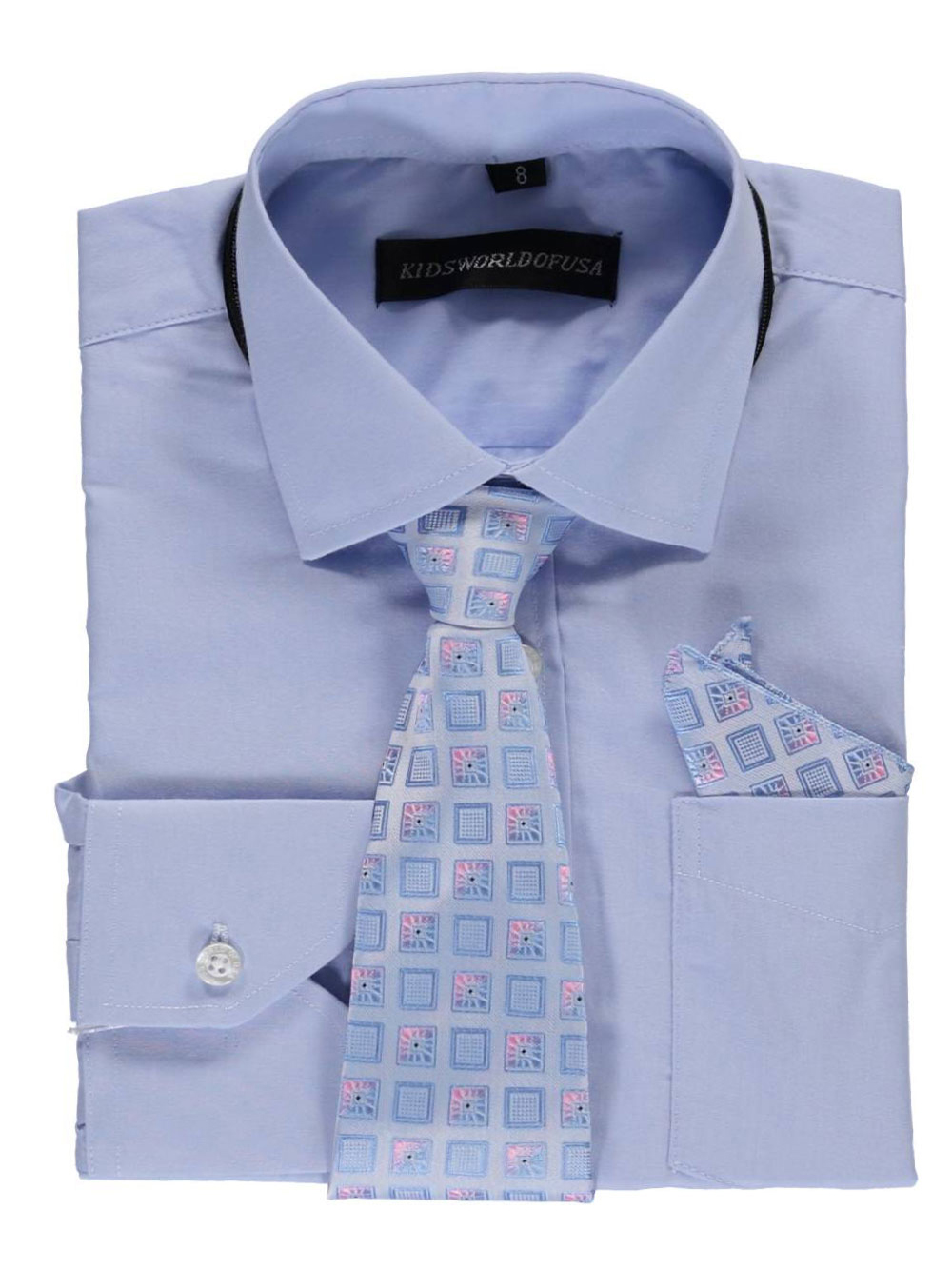 Kids World Big Boys' Dress Shirt with Accessories (Sizes 8 - 20) - light blue, 18