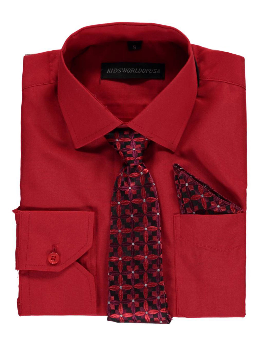 Kids World Big Boys' Dress Shirt with Accessories (Sizes 8 - 20) - red, 8