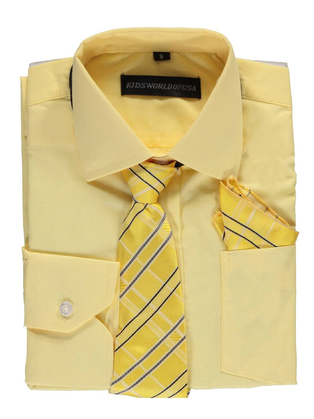 Kids World Big Boys' Dress Shirt with Accessories (Sizes 8 - 20) - yellow, 12