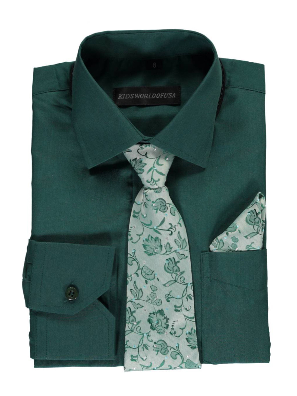 Kids World Big Boys' Dress Shirt with Accessories (Sizes 8 - 20) - emerald, 12