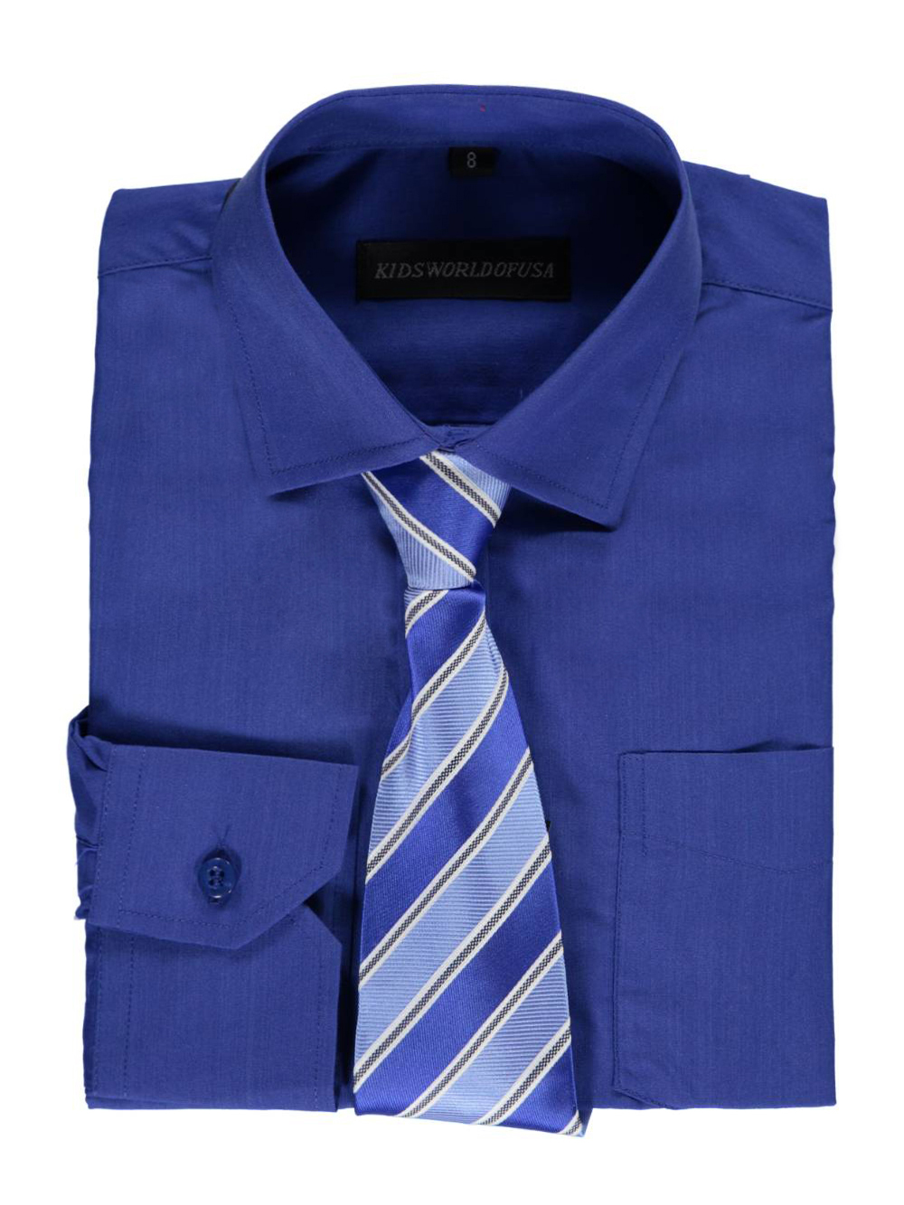 Kids World Big Boys' Dress Shirt with Accessories (Sizes 8 - 20) - royal blue, 20
