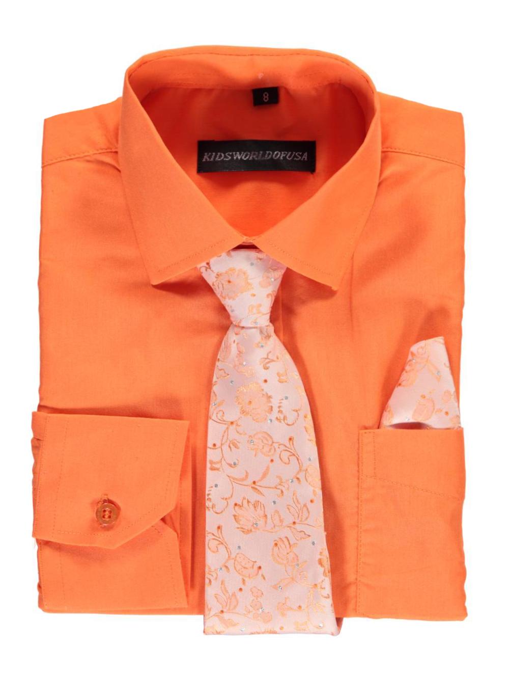 Kids World Big Boys' Dress Shirt with Accessories (Sizes 8 - 20) - orange, 20