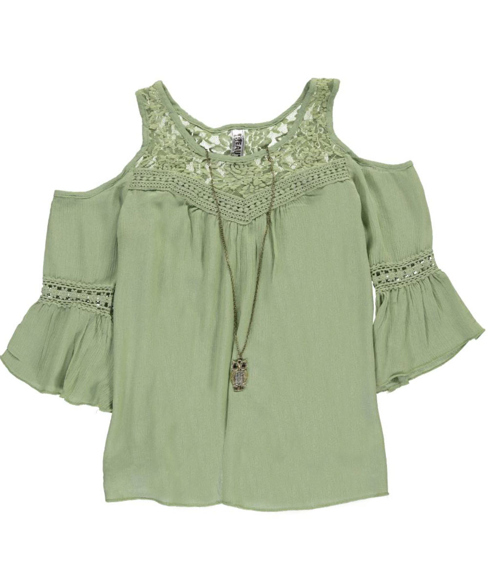 Image of Beautees Big Girls Crinkle Cut Top with Necklace Sizes 7  16