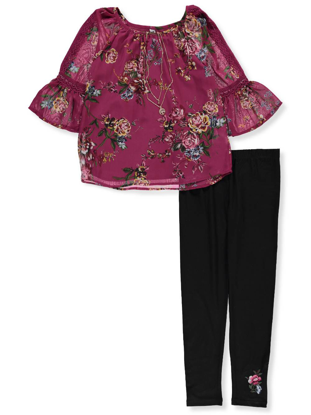 7752e8fe0203e Beautees Girls' 2-Piece Pants Set Outfit with Necklace