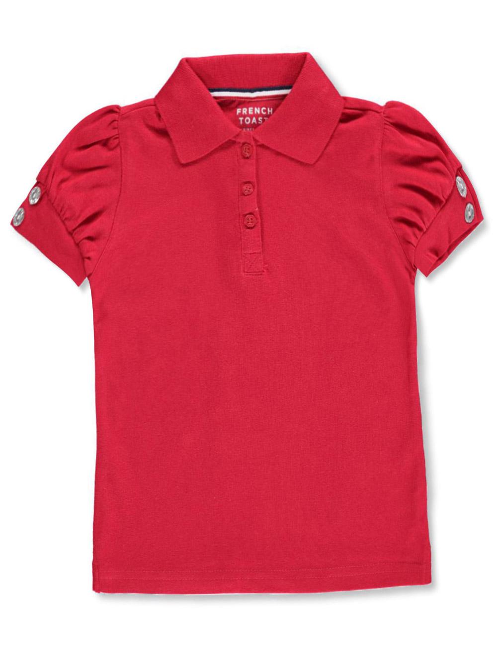 Image of French Toast School Uniform Big Girls Rhinestone SS Polo Shirt Sizes 7  16  red 1012