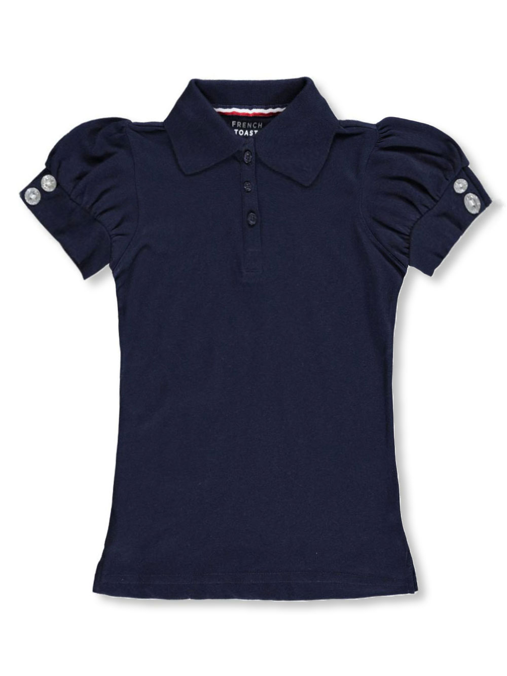 Image of French Toast School Uniform Big Girls Rhinestone SS Polo Shirt Sizes 7  16  navy 14  16