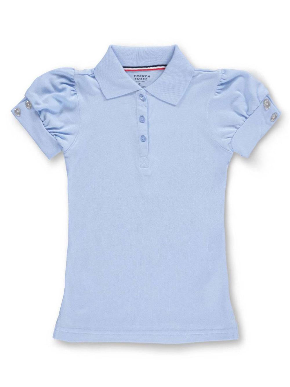 French Toast Big Girls Rhinestone S//S Polo Shirt