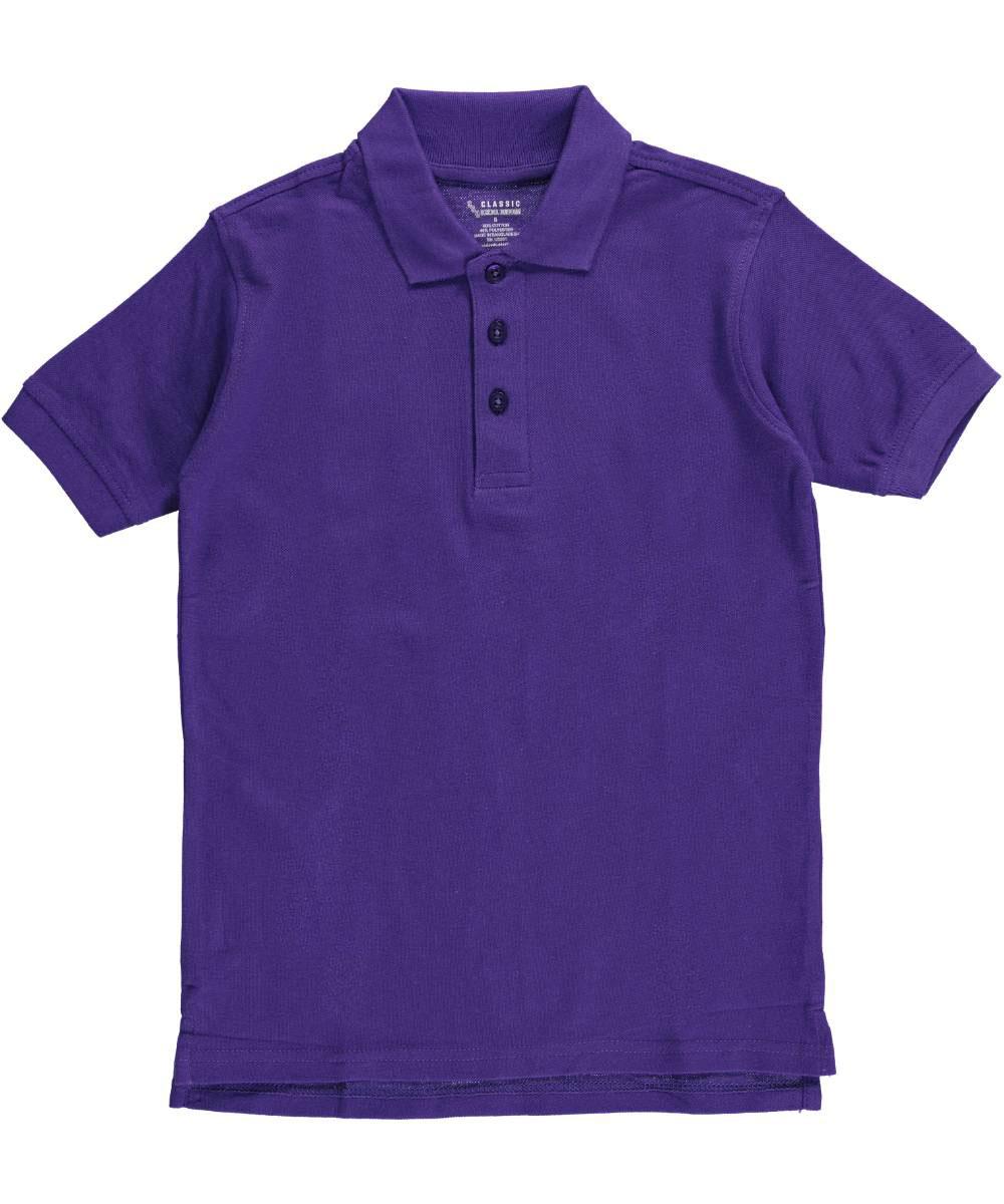 Classic School Uniform Little Boys' Pique Polo (Sizes 4 - 7) - purple, 7