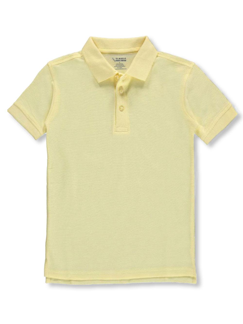 Classic School Uniform Big Boys' Pique Polo (Sizes 8 - 20) - yellow, 14