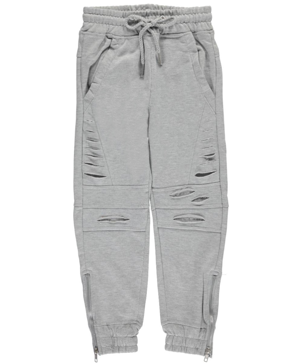 Image of LR Scoop Big Boys Angled Tear Joggers Sizes 8  20  heather gray 1012
