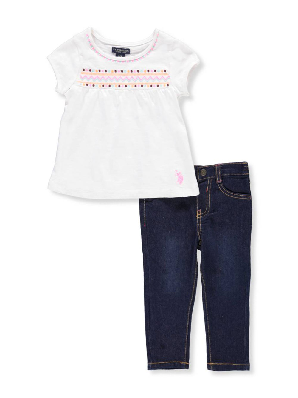 U S Polo Assn Baby Girls 2 Piece Outfit