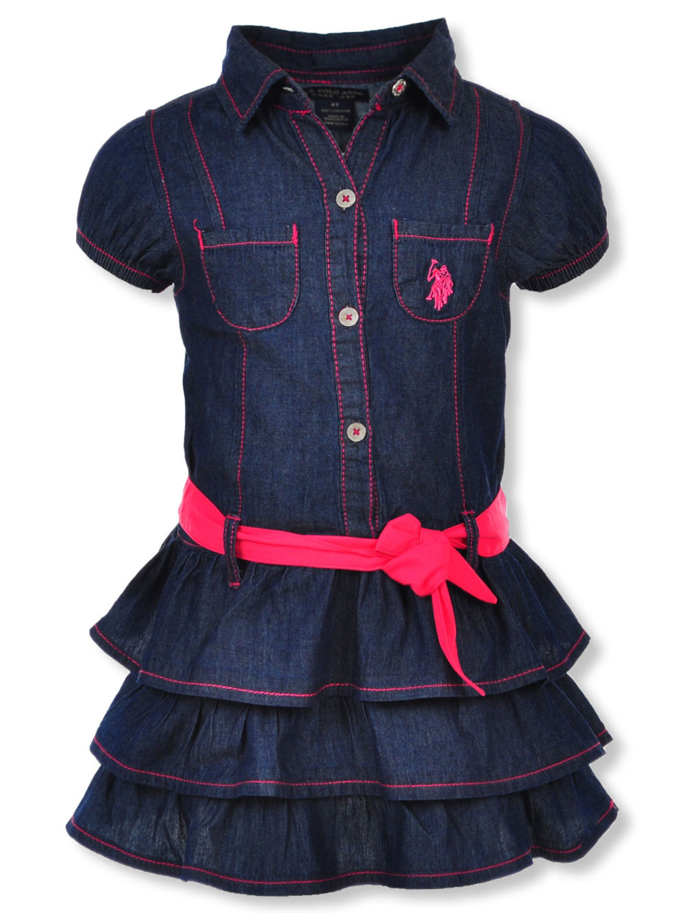 629ebd745 Girls' Belted Dress by U.S. Polo Assn. in Denim/pink from Cookie's Kids