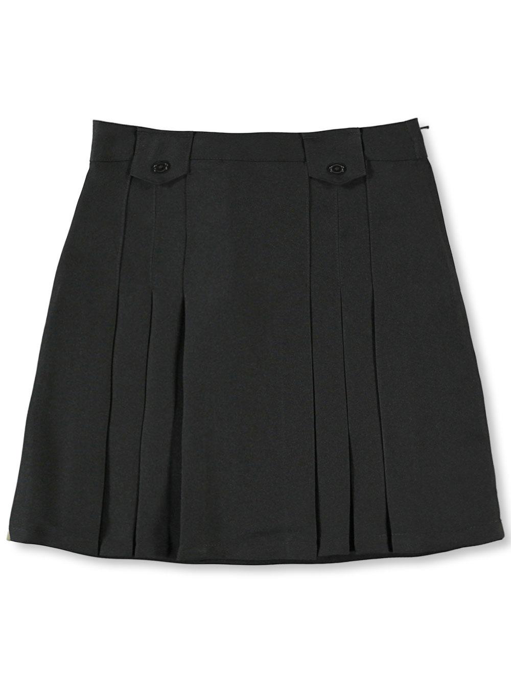 French Toast School Uniform Big Girls' Pleat and Tab Skirt (Sizes 7 - 20) - black, 20