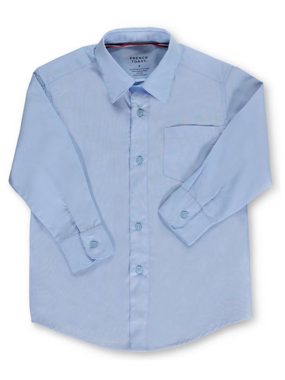 Image of French Toast School Uniform Little Boys LS ButtonDown Shirt Sizes 4  7  blue 6