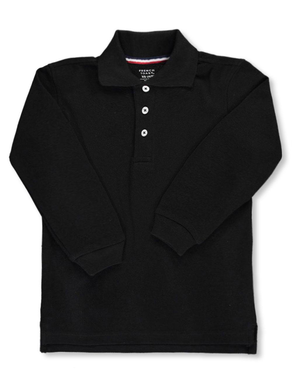 French Toast School Uniform Unisex L/S Pique Polo (Sizes 4 - 7) - black, 4 - 5