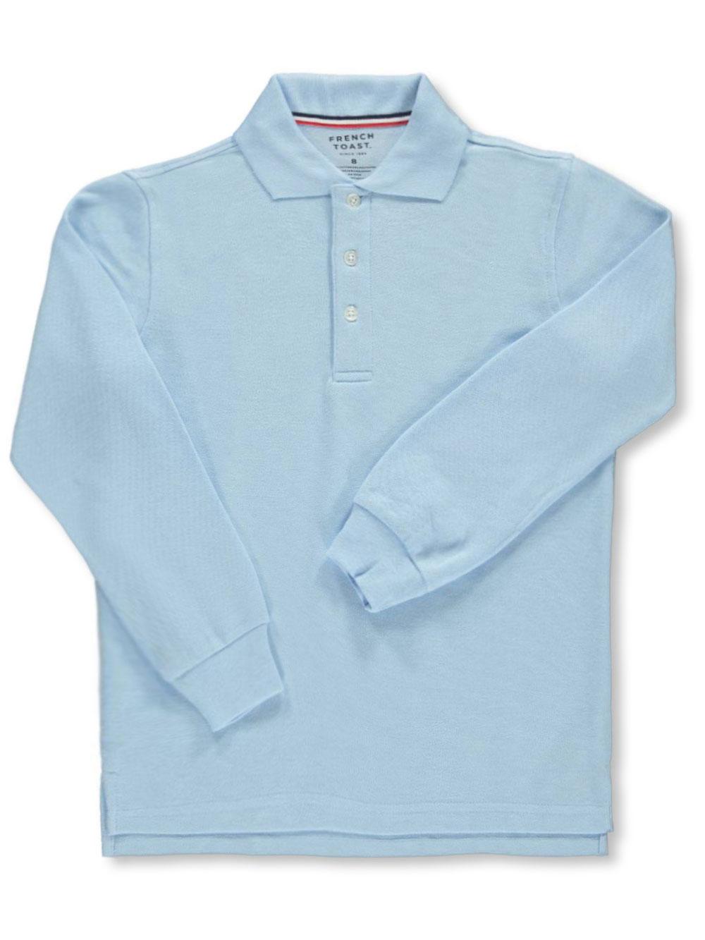 French Toast School Uniform Unisex L/S Pique Polo (Sizes 8 - 20) - blue, 10/12