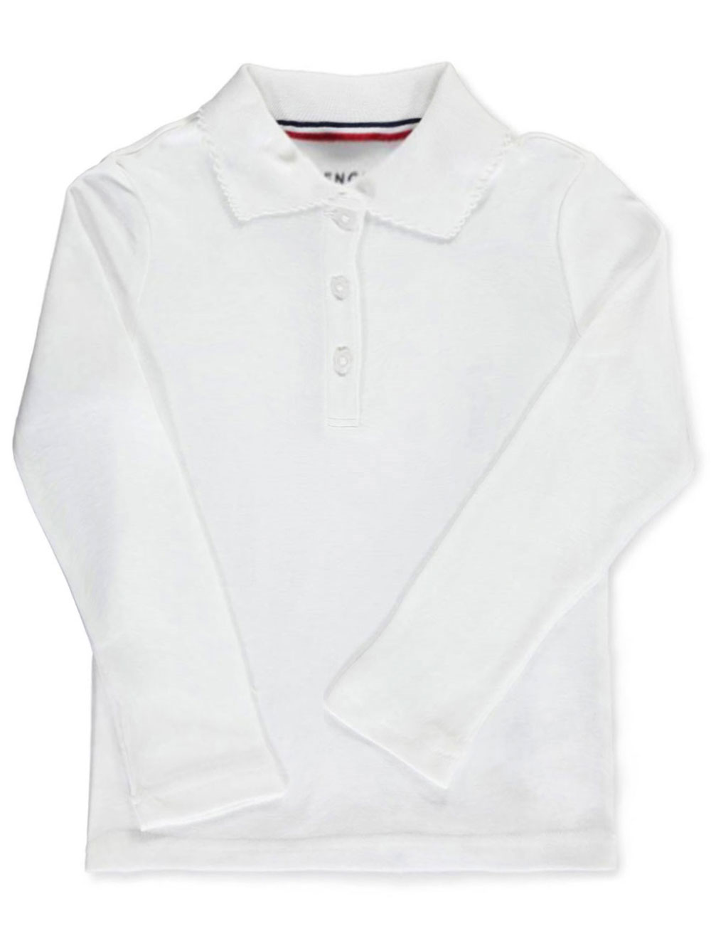 Image of French Toast School Uniform Big Girls LS Fitted Knit Polo With Picot Collar Sizes 7  20  white 78
