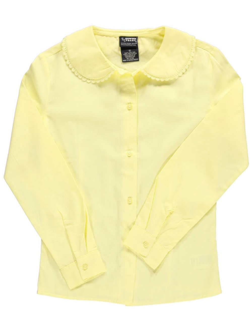 French Toast Big Girls L//S Blouse with Lace Edging