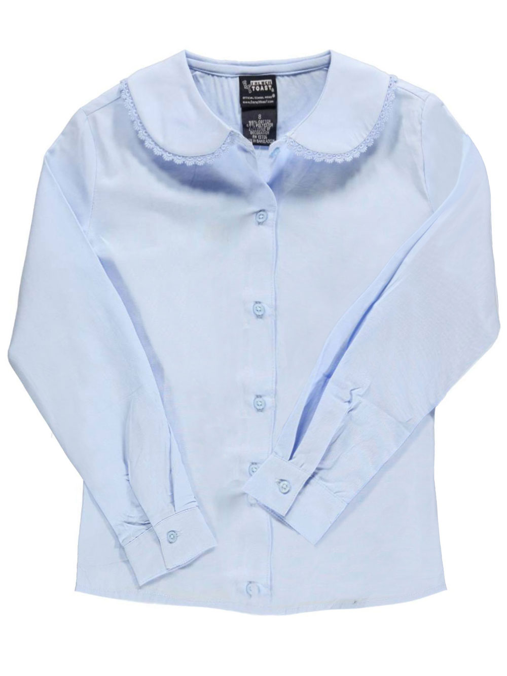 French Toast School Uniform Big Girls' L/S Blouse with Lace Edging (Sizes 7 - 16) - blue, 12