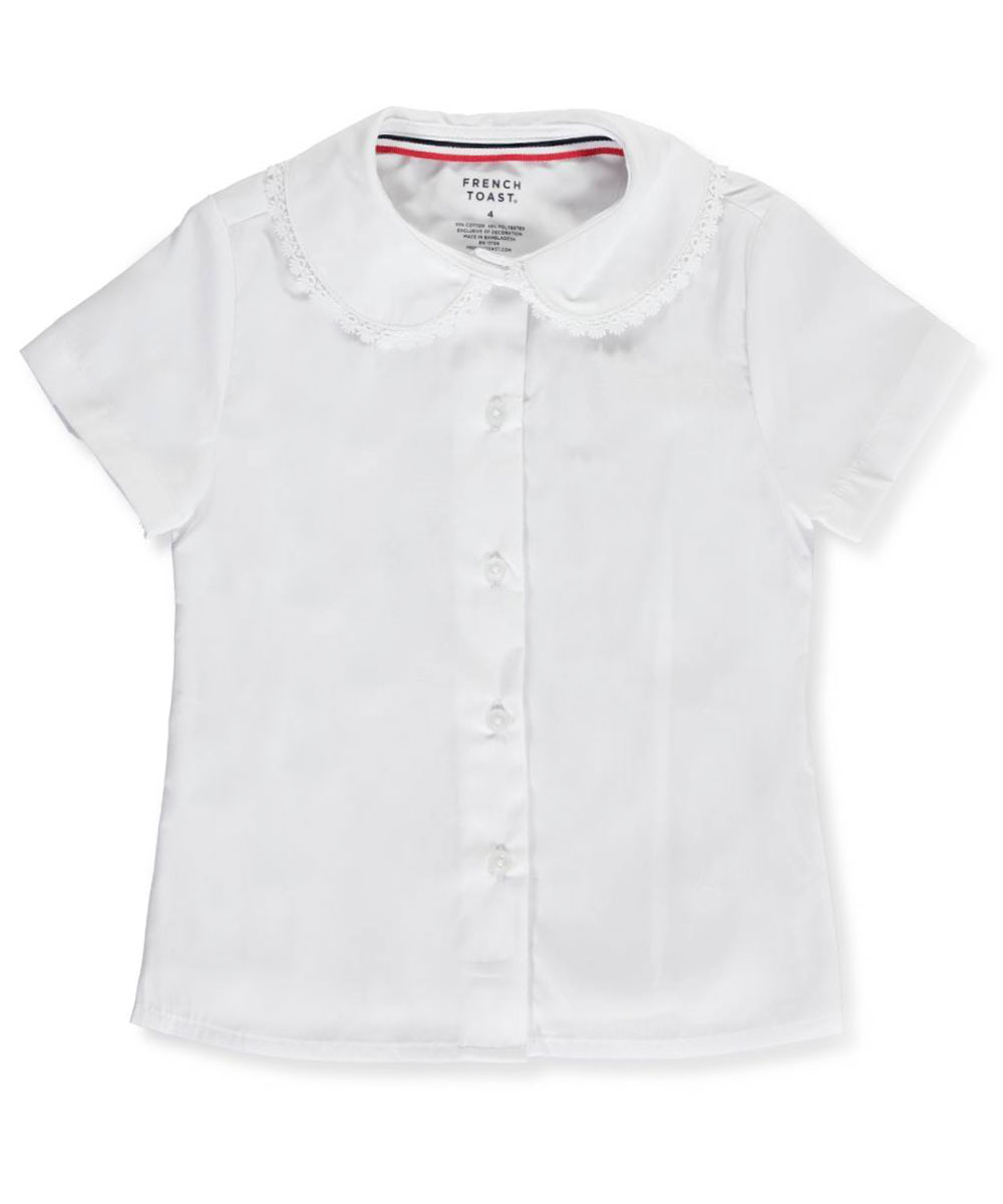 Image of French Toast School Uniform Little Girls SS Blouse with Lace Edging Sizes 4  6X  white 5