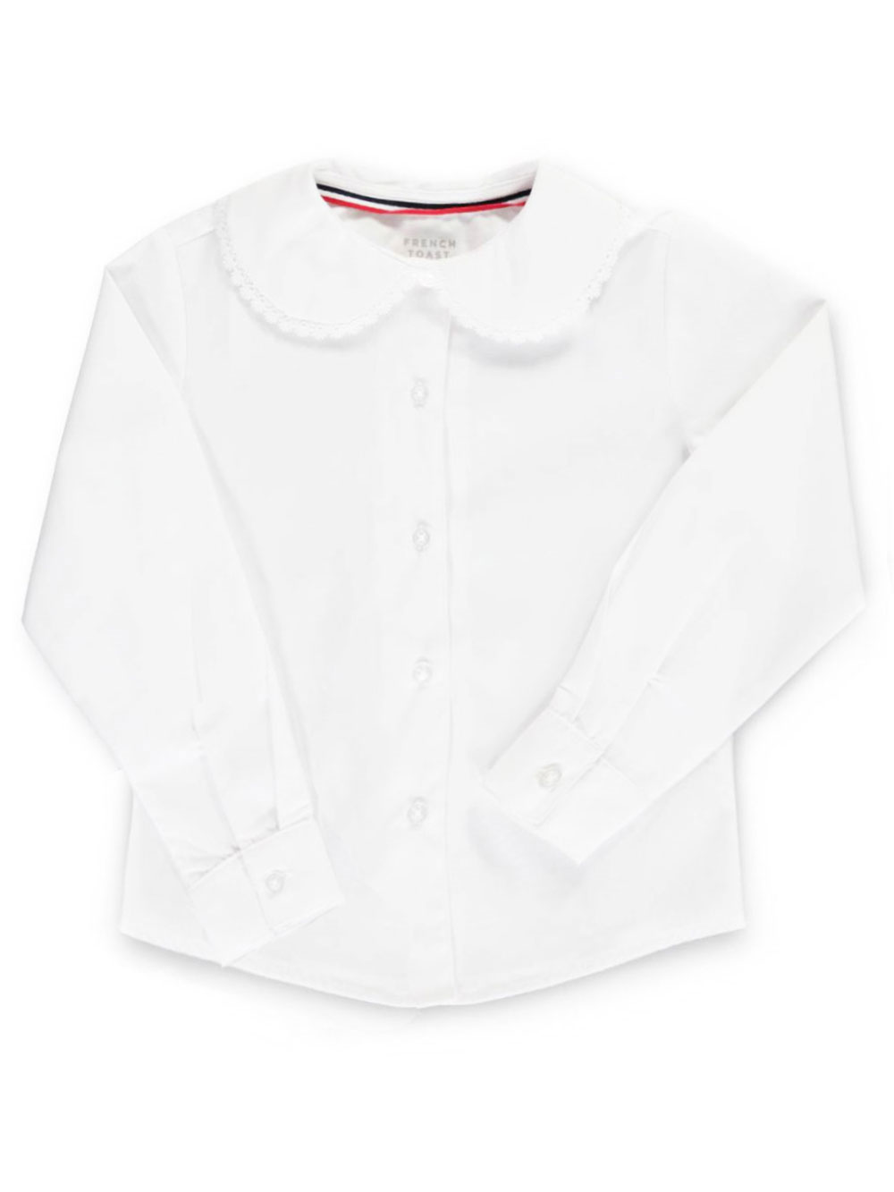 Image of French Toast School Uniform LS Blouse with Picot Edging Sizes 4  6X  white 6x