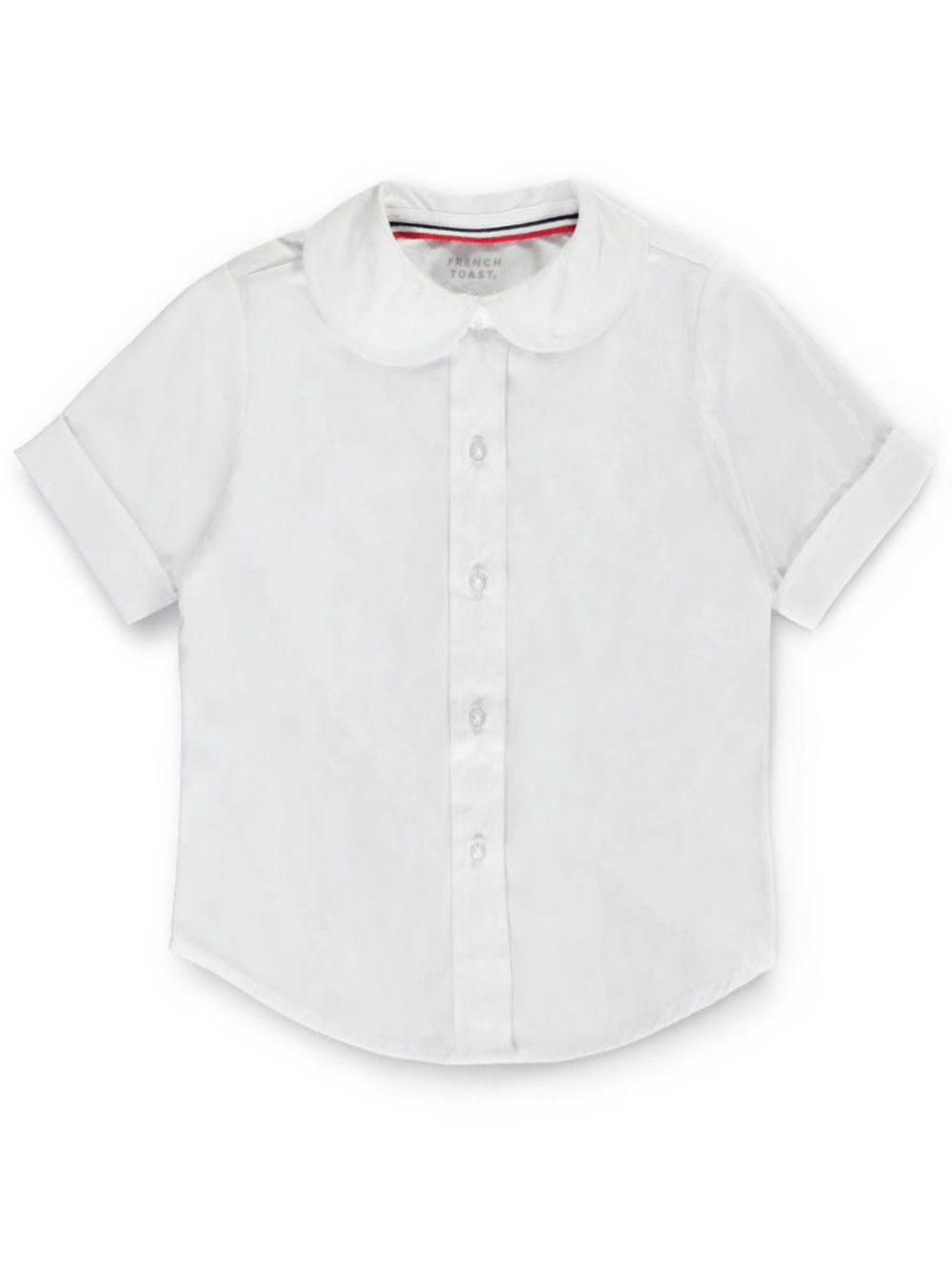 French Toast School Uniform Big Girls' S/S Peter Pan Fitted Shirt (Sizes 7 - 16) - white, 7